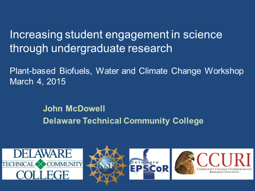 Increasing student engagement in science through undergraduate research_DSU_4Mar2015